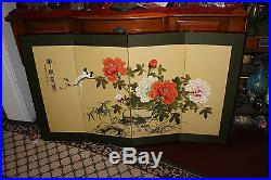 Vintage Chinese Japanese 4 Panel Hand Painted Room Divider-Birds Flowers-Signe
