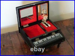 Vintage Japanese Black Lacquer Hand-Painted & Pearl Piano Musical Jewellery Box