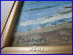 Vintage Japanese Impressionist Painting Coastal Seascape 1940's Antique Signed