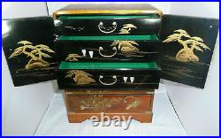 Vintage Japanese Oriental Hand painted Musical Jewellery Box