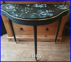 Vintage Japanese Painted Glass Top Demi Lune Table / Console / Side / Card