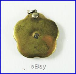 Vintage Japanese Satsuma Hand Painted Ceramic and Enamel Button Pendent