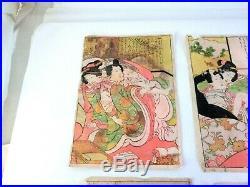 Vintage Japanese UKIYOE Wood Block paint SHUNGA Set of 6 Free Shipping