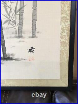 Vintage Mid Century Japanese Silk Screen 2 Panel Hand Painted Screen SIGNED