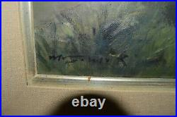 Vintage Original Mitsuzo Shimizu Oil Painting Canvas Framed Japanese River Tree