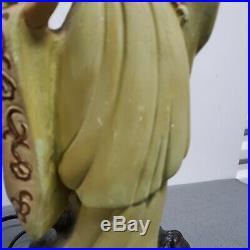 Vintage Painted Ceramic Chalkware Japanese Geisha Lamp Quan Yin Asian Figural