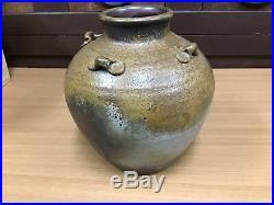 Y0212 VASE Bizen-ware sijiko hand painted Japanese antique tsubo japan art