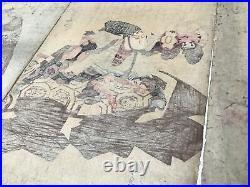 Y2448 WOODBLOCK PRINT Kuniyoshi Kabuki 3 pieces Japanese Ukiyoe vintage painting